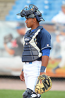 Wilmington Blue Rocks catcher Jose Bonilla #9 during infield practice before a game against the Lynchburg Hillcats at Frawley Stadium on May 3, 2011 in Wilmington, Delaware.  Lynchburg defeated Wilmington by the score of 11-1.  Photo By Mike Janes/Four Seam Images