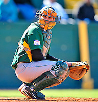 19 April 2009: University of Vermont Catamounts' catcher Mike McCarthy, a Freshman from Wallingford, CT, glances back to the dugout during a game against the University at Albany Great Danes at Historic Centennial Field in Burlington, Vermont. The Great Danes defeated the Catamounts 9-4 in the second game of a double-header. Sadly, the Catamounts are playing their last season of baseball, as the program has been marked for elimination due to budgetary constraints on the University. Mandatory Photo Credit: Ed Wolfstein Photo