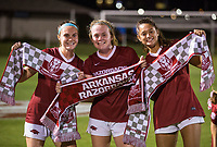 NWA Democrat-Gazette/BEN GOFF @NWABENGOFF<br /> Anna Podojil (from left), Reagan Swindall and Kaelee Van Gundy of Arkansas celebrate after defeating Vanderbilt 1-0 Thursday, Sept. 26, 2019, at Razorback Field in Fayetteville.