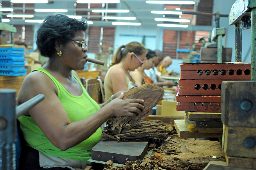 Rollers at work in the Constantino Perez Carrodegua cigar factory in Santa Clara, Cuba. MARK TAYLOR GALLERY
