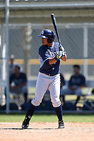 Tampa Bay Rays Juniel Querecuto (19) during a minor league spring training game against the Baltimore Orioles on April 3, 2015 at the Buck O'Neil Complex in Sarasota, Florida.  (Mike Janes/Four Seam Images)
