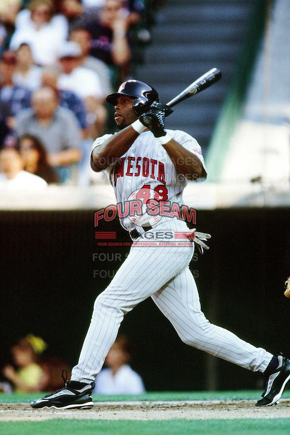Torii Hunter of the Minnesota Twins during a game against the Anaheim Angels at Angel Stadium circa 1999 in Anaheim, California. (Larry Goren/Four Seam Images)