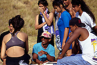 Navigator of Polynesian voyaging canoe, Hokule'a, Nainoa Thompson talks to students at Ka'u, big Island