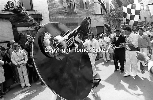 Padstow Hobby Horse, Padstow Cornwall, England 1975. May 1st.<br /> <br /> The Blue Oss.