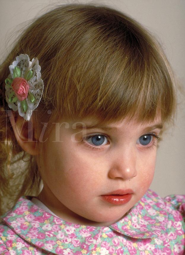 Close up portrait of a blue-eyed girl in dress. Margaret.