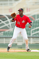 Kannapolis Intimidators first baseman Keon Barnum (35) waits for a throw during the South Atlantic League game against the Lexington Legends at CMC-Northeast Stadium on July 31, 2013 in Kannapolis, North Carolina.  The Intimidators defeated the Legends 3-2.  (Brian Westerholt/Four Seam Images)