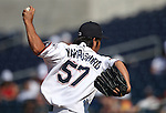 Reno Aces' Yuhei Nakaushiro pitches against the Tacoma Rainiers at Greater Nevada Field in Reno, Nev., on Sunday, Aug. 28, 2016. <br />Photo by Cathleen Allison