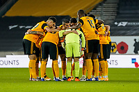 30th October 2020; Molineux Stadium, Wolverhampton, West Midlands, England; English Premier League Football, Wolverhampton Wanderers versus Crystal Palace; Wolverhampton Wanderers huddle before the game starts