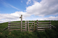 A wooden gate leading to a country path in the village of Staylittle (Penffordd-Las in welsh)