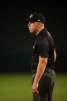 Umpire Alec Mendez during an Arizona League game between the AZL Rangers and AZL Athletics Gold on July 15, 2019 at Hohokam Stadium in Mesa, Arizona. The AZL Athletics Gold defeated the AZL Rangers 9-8 in 11 innings. (Zachary Lucy/Four Seam Images)