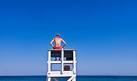 Lifeguard watches over ocean waters, Cape Cod National Seashore, Cape Cod, MA, Massachusetts, USA