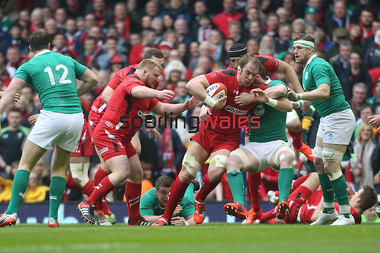 Lock Alun Wyn Jones drives Wales forward.<br /> RBS 6 Nations<br /> Wales v Ireland<br /> Millennium Stadium<br /> 14.03.15<br /> ©Steve Pope - SPORTINGWALES