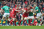 Lock Alun Wyn Jones drives Wales forward.<br /> RBS 6 Nations<br /> Wales v Ireland<br /> Millennium Stadium<br /> 14.03.15<br /> ©Steve Pope - SPORTINGWALES