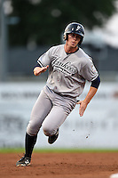 Staten Island Yankees outfielder Chris Breen (25) running the bases during a game against the Batavia Muckdogs on August 8, 2014 at Dwyer Stadium in Batavia, New York.  Staten Island defeated Batavia 4-2.  (Mike Janes/Four Seam Images)