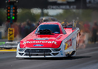 Jul 12, 2020; Clermont, Indiana, USA; NHRA funny car driver Jonnie Lindberg during the E3 Spark Plugs Nationals at Lucas Oil Raceway. This is the first race back for NHRA since the start of the COVID-19 global pandemic. Mandatory Credit: Mark J. Rebilas-USA TODAY Sports