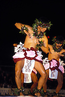 Kahiko (ancient) hula dancing at the Merrie Monarch Festival, Hilo, Big Island of Hawaii