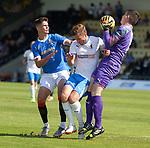17.07.2021 Rangers B v Bo'ness Utd: Rangers Robbie Ure pressures Darren McCormack and Andy Murphy