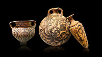 Minoan pottery with stylised octopus decorations, 1500-1400 BC, Heraklion Archaeological Museum, black background.  <br /> <br /> From Left to right<br /> 1- Krater Episkopi Lerapetra 1370-1250 BC, <br /> 2- flask with Marine style stylised octopus design,   Palaikastro,  1500-1450 BC; <br /> 3- far right  conical rhython with Marine style stylised octopus design,   Palaikastro 1500-1450 BC;