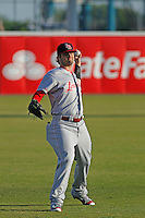 Louisville Bats outfielder Jesse Winker (23) in the outfield before a game against the Norfolk Tides at Harbor Park on April 26, 2016 in Norfolk, Virginia. Louisville defeated defeated Norfolk 7-2. (Robert Gurganus/Four Seam Images)