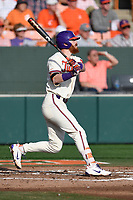 Second baseman Grayson Byrd (4) of the Clemson Tigers bats in a game against the Furman Paladins on Tuesday, February 20, 2018, at Doug Kingsmore Stadium in Clemson, South Carolina. Clemson won, 12-4. (Tom Priddy/Four Seam Images)