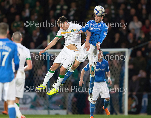 St Johnstone v Celtic...15.05.15   SPFL<br /> Murray Davidson and Stefan Scepovic<br /> Picture by Graeme Hart.<br /> Copyright Perthshire Picture Agency<br /> Tel: 01738 623350  Mobile: 07990 594431