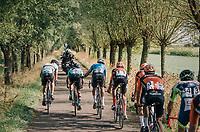 "Wout Van Aert (BEL/Veranda's Willems-Crelan) steering his breakaway compagnions along the way...<br /> <br /> Antwerp Port Epic 2018 (formerly ""Schaal Sels"")<br /> One Day Race:  Antwerp > Antwerp (207 km; of which 32km are cobbles & 30km is gravel/off-road!)"