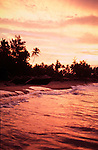 Sunrise on the beach at Patnem in Goa in India.