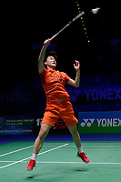 13th March 2020, Arena Birmingham, Birmingham, UK; Chinas Chen Yufei returns a shot during for womens singles quarterfinal match with Thailand s Ratchanok Intanon at the All England Open Badminton Championships in Birmingham