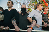 Moscow, Russia, 06/05/2012..Protestors face off against riot police at opposition demonstration against Russian Presidential election results on the eve of Vladimir Putins inauguration as President.