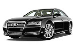 Low aggressive front three quarter view of a 2013 Audi A8 L W12 4 Door Sedan 4WD