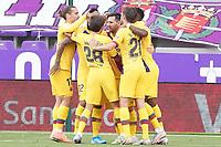 FC Barcelona's Antoine Griezmann, Riqui Puig, Arturo Vidal, Leo Messi, Sergi Roberto and Nelson Semedo celebrate goal during La Liga match. July 11,2020. (ALTERPHOTOS/Acero)<br /> 11/07/2020<br /> Liga Spagna 2019/2020 <br /> Valladolid - Barcelona <br /> Foto Alterphotos / Insidefoto <br /> ITALY ONLY