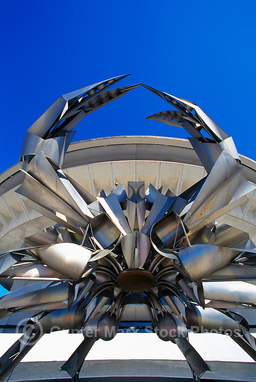Crab Sculpture Fountain at H.R. MacMillan Space Centre Planetarium and Vancouver Museum in Vanier Park, British Columbia, Canada