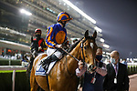 March 27, 2021: MOGUL(GB) #8, in the post parade for the Dubai Sheema Classic on Dubai World Cup Day, Meydan Racecourse, Dubai, UAE. Shamela Hanley/Eclipse Sportswire/CSM