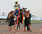 HALLANDALE BEACH, FL - APRIL 01:  John Velazquez with Always Dreaming head into the winners circle after winning the Grade I Xpressbet Florida Derby. Scenes from  Florida Derby Day at Gulfstream Park on April 01, 2017 in Hallandale Beach, Florida. (Photo by Liz Lamont/Eclipse Sportswire/Getty Images)
