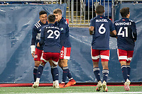 FOXBOROUGH, MA - OCTOBER 16: Damian Rivera #72 of New England Revolution II celebrates his goal during a game between North Texas SC and New England Revolution II at Gillette Stadium on October 16, 2020 in Foxborough, Massachusetts.