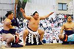 Hakuho, <br /> APRIL 17, 2017 - Sumo : Yasukuni Shrine Honozumo is a ceremonial annual sumo tournament held in the precincts of the Yasukuni Shrine in Tokyo, Japan. (Photo by Yohei Osada/AFLO SPORT)