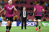 7th November 2020, Brisbane, Australia; Tri Nations International rugby union, Australia versus New Zealand;  All Blacks head coach Ian Foster watches his players during warmup