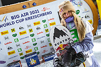 9th January 2021; Kreischberg, Murau, Austria. FIS World Cup Womens Snowboarding Big Air;  3rd placed Anna Gasser of Austria during the winners ceremony of womens Snowboard Big Air Competition