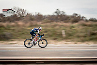 Kirsten Wild (NED/Trek-Segafredo) trying to get away with less then 5km to go<br /> <br /> AG Driedaagse Brugge-De Panne 2020 (1.WWT)<br /> 1 day race from Brugge to De Panne (156km) <br /> <br /> ©kramon