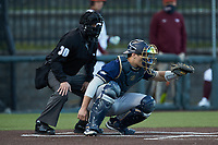 Georgia Tech Yellow Jackets catcher Kevin Parada (4) frames a pitch as home plate umpire Kevin Sweeney looks on during the game against the Virginia Tech Hokies at English Field on April 16, 2021 in Blacksburg, Virginia. (Brian Westerholt/Four Seam Images)