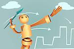 Illustration of robotic businessman aiming arrow to achieve target