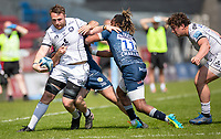 17th April 2021; AJ Bell Stadium, Salford, Lancashire, England; English Premiership Rugby, Sale Sharks versus Gloucester; Ruan Ackermann of Gloucester  is tackled by Marland Yarde of Sale Sharks