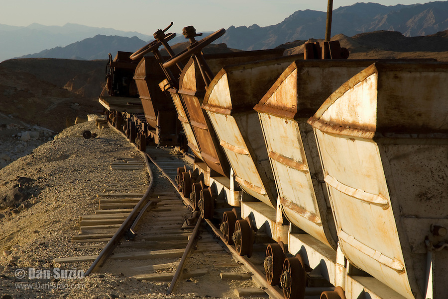 Ore cars at Ryan, California, a 1920s mining camp in the Greenwater Range on the Eastern edge of Death Valley