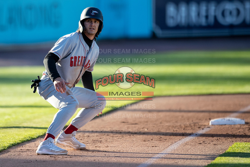 Great Lakes Loons outfielder James Outman (13) leads off third base against the West Michigan Whitecaps at LMCU Ballpark on May 11, 2021 in Comstock Park, Michigan. (Andrew Woolley/Four Seam Images)