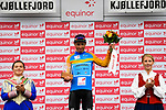 Sergei Chernetski Astana Pro Team takes over the Leaders Jersey at the end of Stage 2 of the 2018 Artic Race of Norway, running 195km from Tana to Kjøllefjord, Norway. 17th August 2018. <br /> <br /> Picture: ASO/Pauline Ballet | Cyclefile<br /> All photos usage must carry mandatory copyright credit (© Cyclefile | ASO/Pauline Ballet)