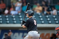 Ian Dawkins (8) of the Kannapolis Intimidators at bat against the Augusta GreenJackets at SRG Park on July 6, 2019 in North Augusta, South Carolina. The Intimidators defeated the GreenJackets 9-5. (Brian Westerholt/Four Seam Images)