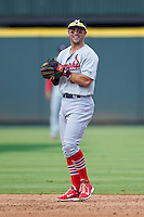 Memphis Redbirds second baseman Greg Garcia (5) smiles during the second game of a Pacific Coast League doubleheader against the Round Rock Express on August 3, 2014 at the Dell Diamond in Round Rock, Texas. The Redbirds defeated the Express 7-6. (Andrew Woolley/Four Seam Images)