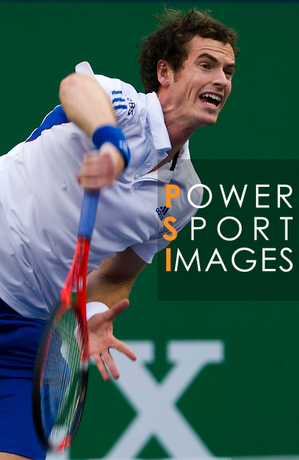 SHANGHAI, CHINA - OCTOBER 16:  Andy Murray of Great Britain serves to Juan Monaco of Argentina during day six of the 2010 Shanghai Rolex Masters at the Shanghai Qi Zhong Tennis Center on October 16, 2010 in Shanghai, China.  (Photo by Victor Fraile/The Power of Sport Images) *** Local Caption *** Andy Murray