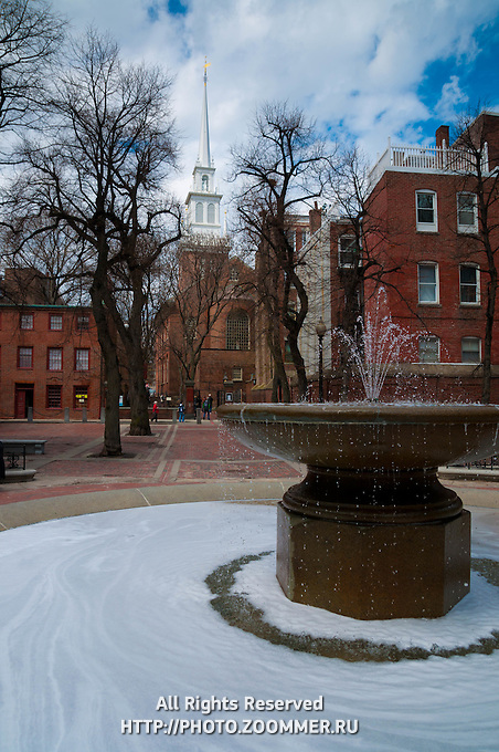 Old North Church And Fountain on Paul Revere Mall, Boston