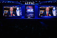 Washington, DC - March 1, 2020: Israeli Prime Minister Benjamin Netanyahu addresses attendees of the AIPAC Policy Conference via satellite at the Washington Convention Center March 1, 2020.  (Photo by Don Baxter/Media Images International)